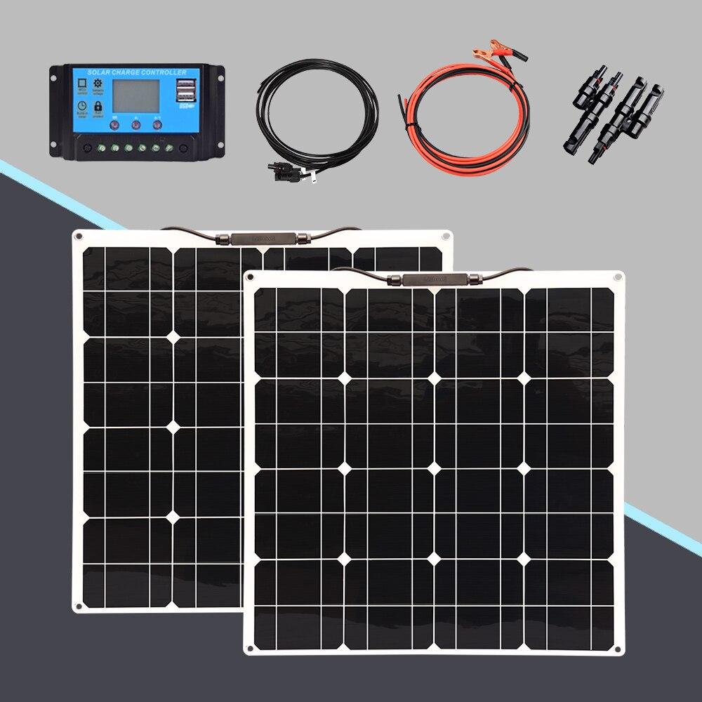 لوحة طاقة شمسية 12 فولت 200 واط 100 واط 50 واط الضوئية عدة نظام المنزل مع 12 فولت/24 فولت 20A شاحن بالطاقة الشمسية تحكم لسيارة قارب قافلة تخييم