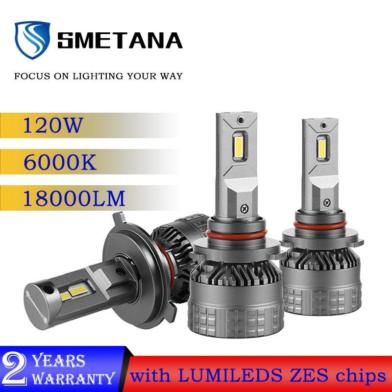 Smetana 2 個H4 led車ヘッドライトcanbus H7 H11 led電球H8 H1 9005 9006 ledヘッドランプ 120 ワット 18000LM 6000 18kオートledフォグランプ