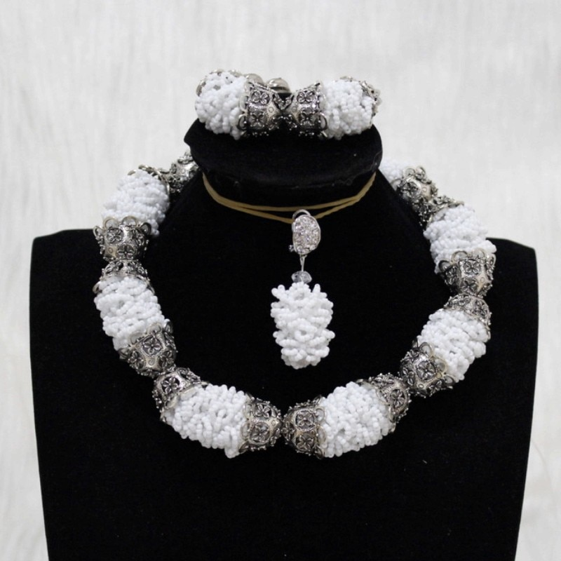 Dudo Store Fine Jewelry Set Wite Bold Balls Silver Dubai Necklace Set For Women Costume Choker Nigerian Jewellery Set Free Ship