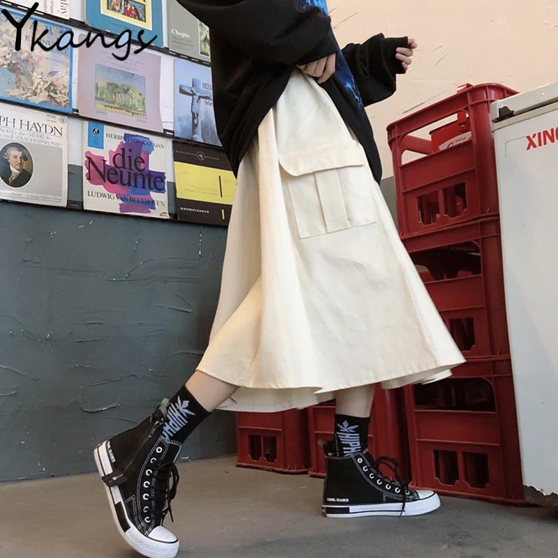 Gótico preto alta cintura elástica harajuku saia longa coreano casual feminino grande bolso carga midi saia vintage hip hop streetwear