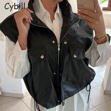 Cybill Button Zipper Black Vest Top Women Sleeveless PU Leather Vest Jacket Pocket Loose Coat Women