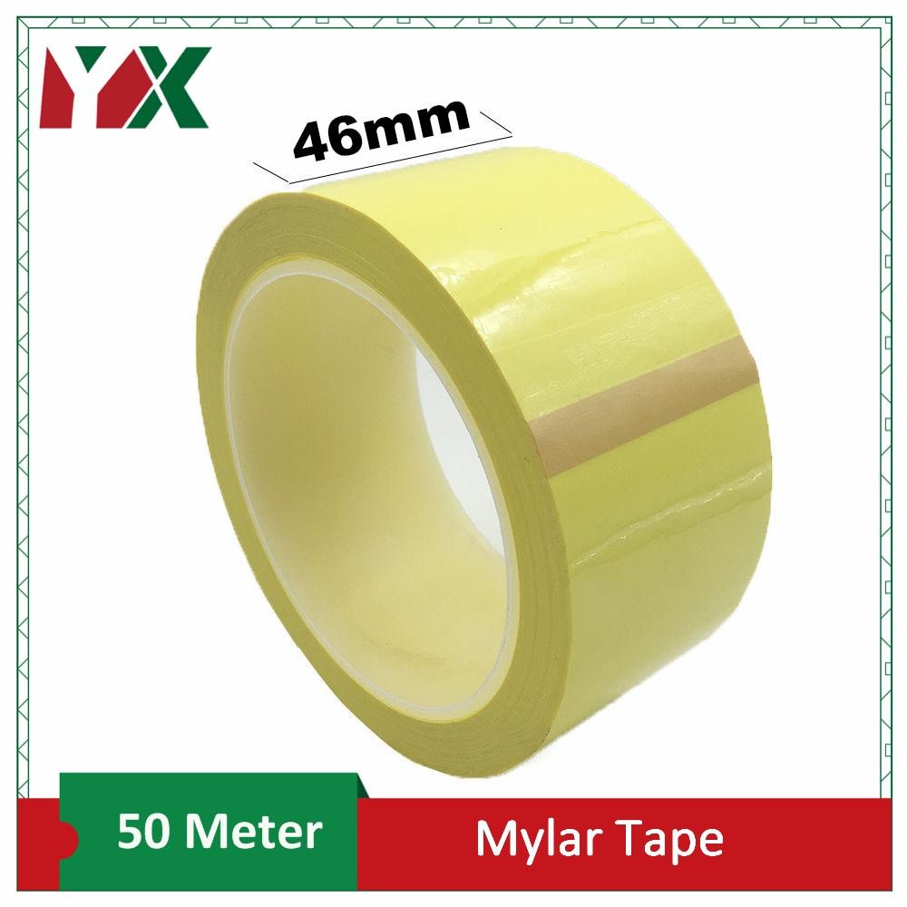 YX 1 piezas 46mm adhesivo aislamiento Mylar para transformador de Motor condensador bobina de antillama amarillo 50 M/rollo