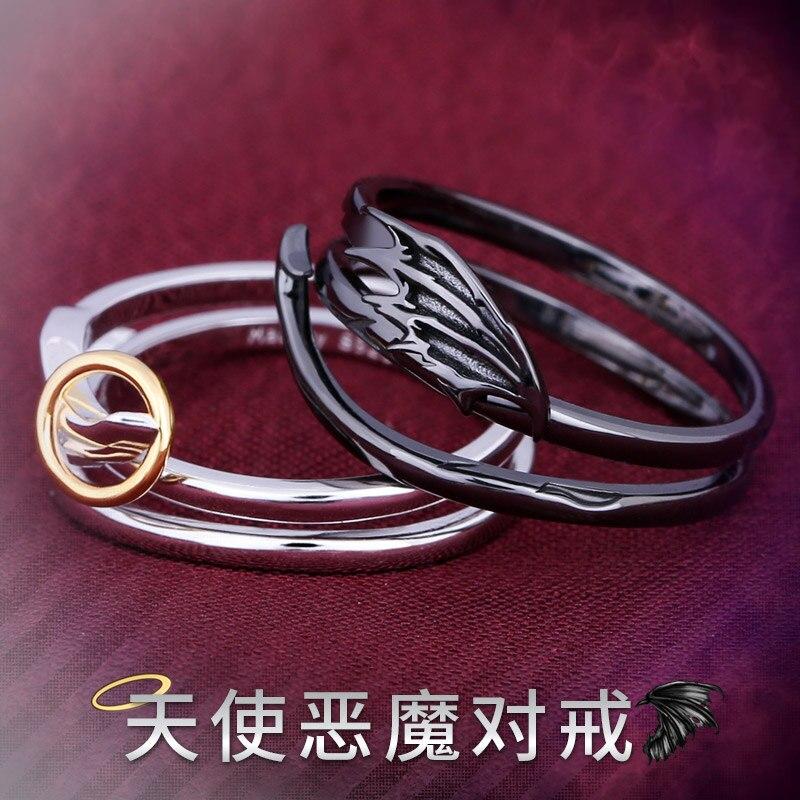 خاتم من الفضة الإسترليني للرجال والنساء ، خاتم قابل للتعديل للزوجين ، تأثيري ، موضوع أنيمي ، ملاك ، شيطان ، S925