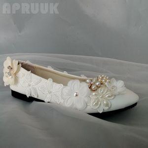 New arrival 2020 women's flats shoe white lace champagne flower bridal bridesmaid plus size ladies girl party dancing shoes