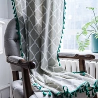 plaid tassels curtains for kitchen living room home decoration curtains linen cotton fabric muiti size window curtain drape 1pc
