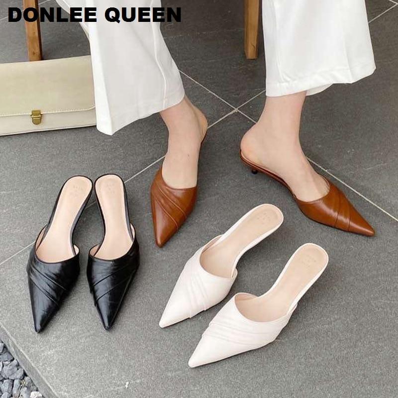 Zapatillas de marca para mujer, zapatillas de tacón bajo con puntiagudas para mujer, zapatillas de tacón fino, chanclas para exteriores, Zapatos Sandalias Mujer plisadas