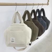 retro plush high capacity handbags for women lambswool big tote 2021 new womens winter shopper shoulder crossbody bags purses