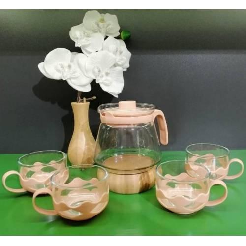 Чайный сервиз из бамбука T1392 GUARDO 5 PARÇA, 600 мл, оранжевый-6 штук-пакетик-Demlik