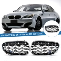 chrome silver car front bumper kidney grilles diamond style grills replacement for bmw 5 series e60 e61 535i 550i m5 2003 2010