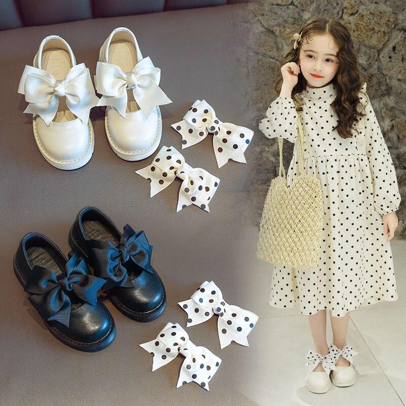 ¡Novedad de otoño! Zapatos de cuero blanco con lazo y plataforma para niñas con flores, zapatos para el colegio, bodas, fiestas, princesas