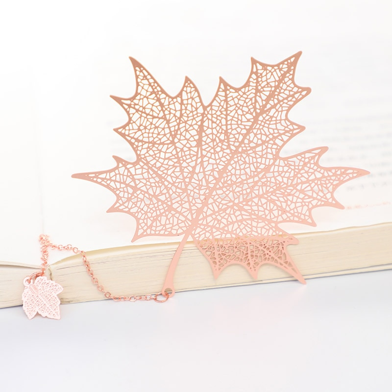 1PC Rose Gold Bookmark Chinese Style Leaf Veins Clover Hollow Maple Leaf Tassel Apricot Leaf Bookmark for Stationery Gifts chinese style metal hollow bookmark lotus lotus leaf bookmark creative stationery fine holiday gifts art accessories