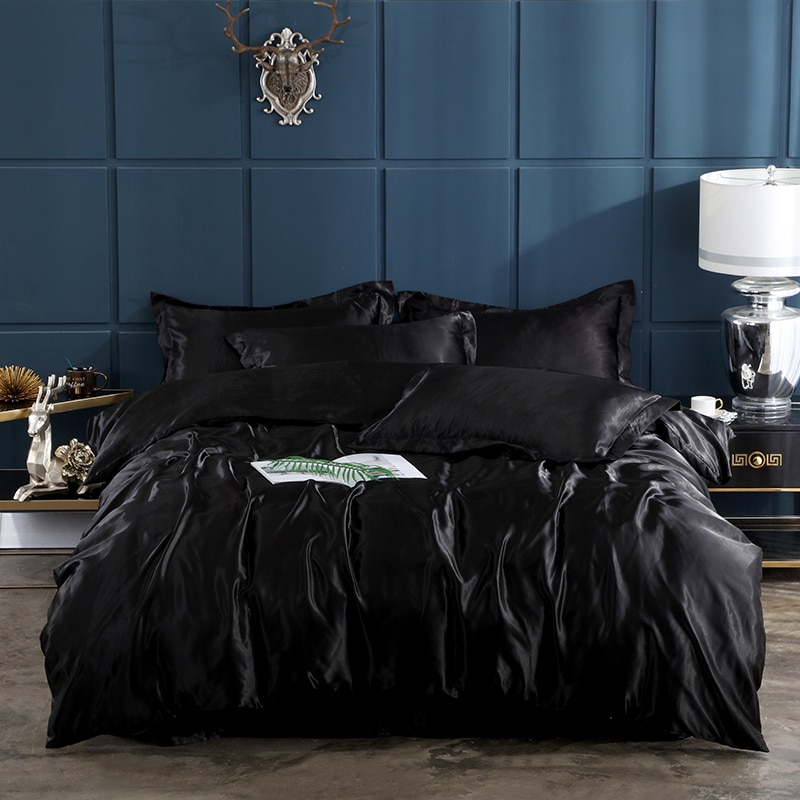 Lanke preto branco conjunto de cama seda, têxtil casa cama king size, designer de luxo