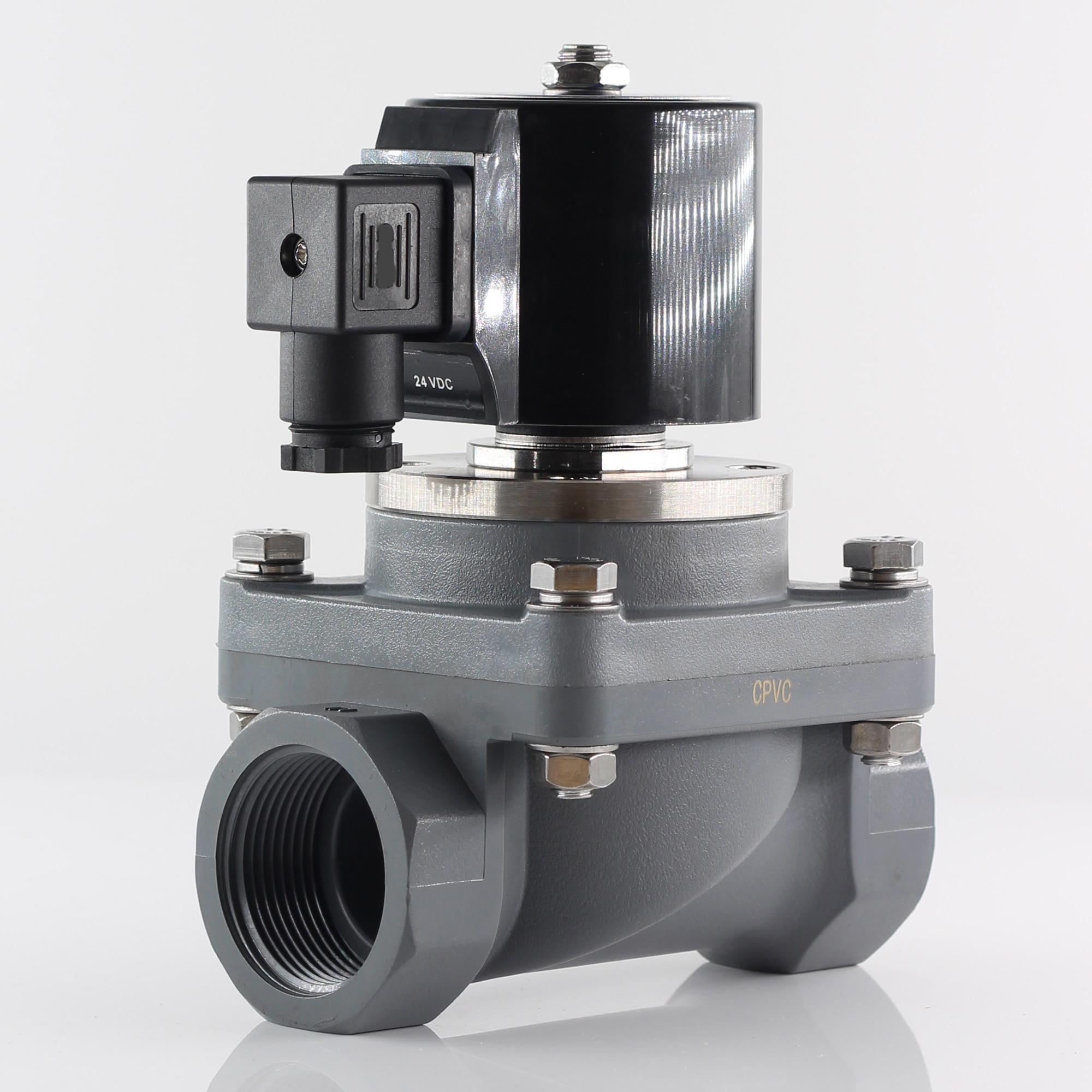 G or NPT N.C anti-corrosion solenoid valve, AC 220V 110V diaphragm pilot operated valve,DC 24V DN15 ~ DN50 for acid and alkali недорого