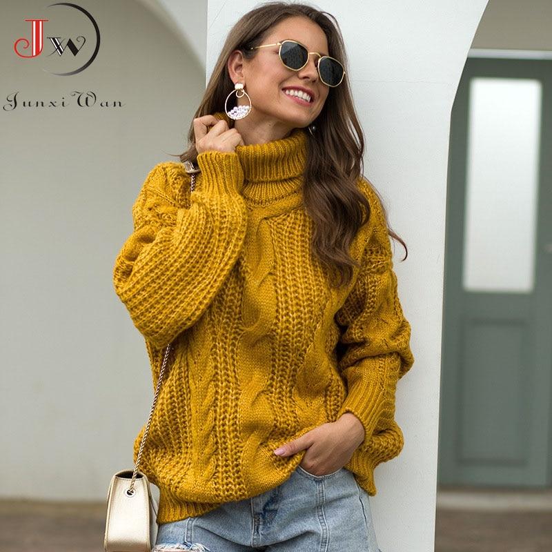 2020 Autumn Winter Women Turtleneck Sweater Loose Oversized Elegant Warm Knitted Pullovers Fashion Solid Tops Knitwear Jumper