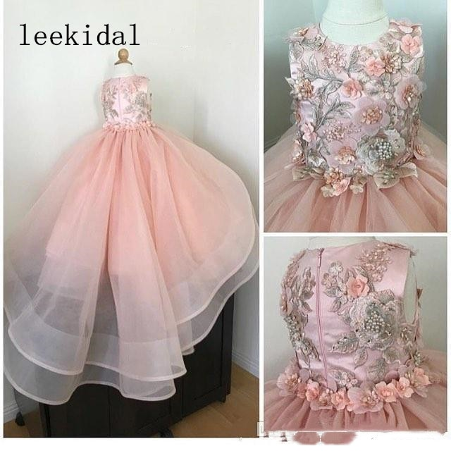 Pink Lace Beaded 2020 Flower Gilr Dresses Tiers Ball Gown Little Girl Wedding Dresses Cheap Beautiful Child Pageant Dresses Gown