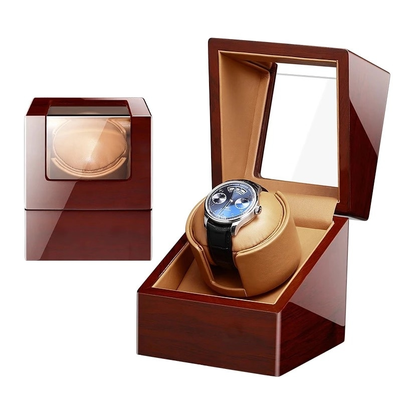 2021 صندوق ساعة يد علوي ساعات آلية واحدة ويندر حافظة حامل بني تخزين مجوهرات contador