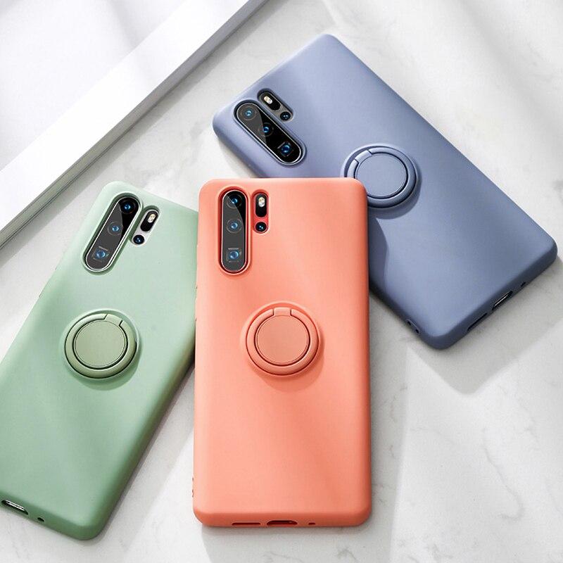 Casos de anel de silicone macio para huawei p30 lite pro p20 companheiro 20 p30lite nova 3 3i suporte do telefone capas de silicone p 20 30