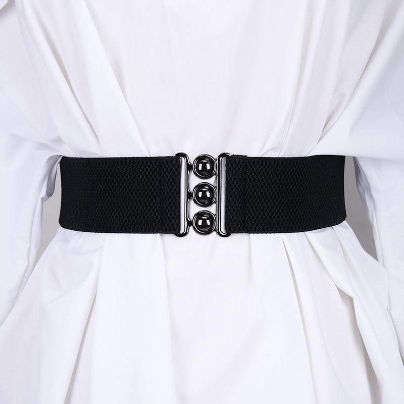 Nuevos cinturones de vestido ancho con banda elástica para mujer, cinturón cincha con cintura de leopardo elástica, fajas decorativas de moda, abrigo negro para mujer