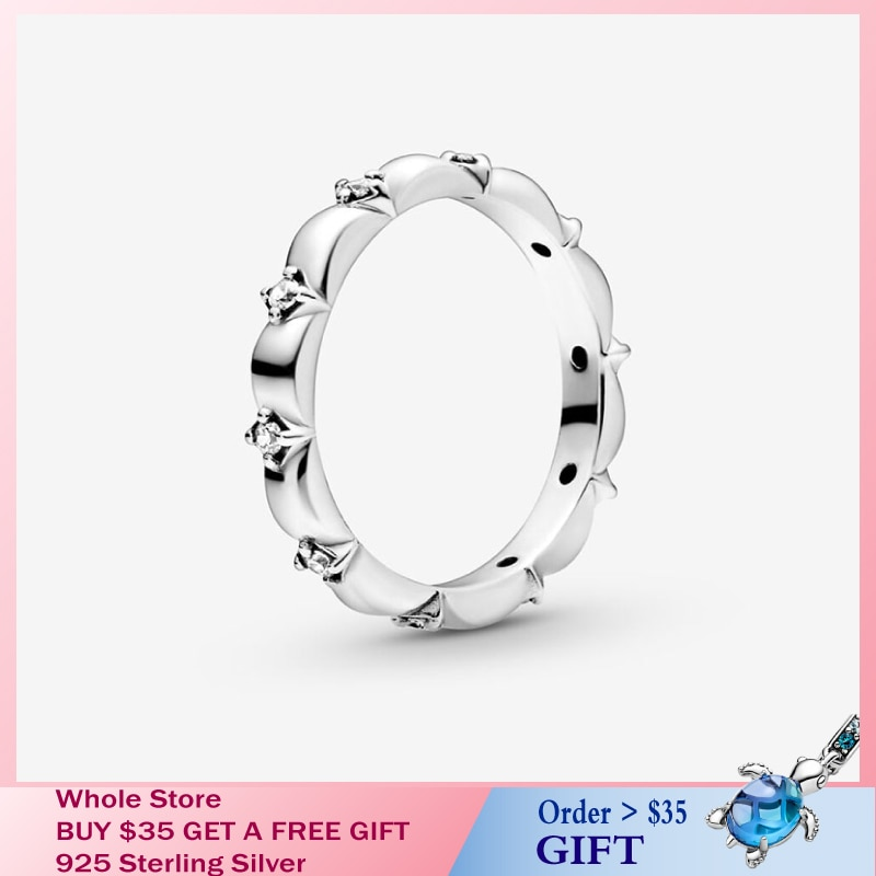Novo estilo autêntico primavera flor pétalas banda anéis pavimentar espumante daisy flor coroa anel jóias presente 925 prata esterlina