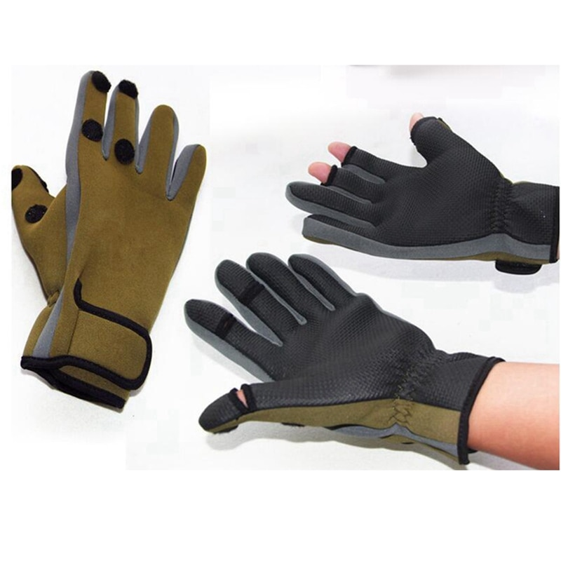 Men Women Outdoor Fishing Gloves Waterproof Three or Two Fingers Cut Anti-Slip Climbing Glove Hiking Camping Riding Protective G