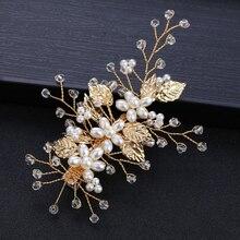 Leaf Barrette Alligator Hair Clip Baroque Pearl Hairpins Headdress Headpiece  Goddess Wedding Hair Accessories Jewelry