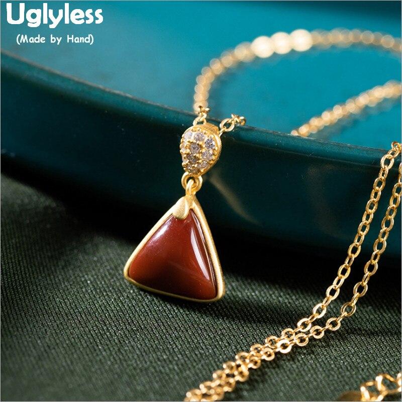 Uglyless natural pedras preciosas triângulo brincos conjuntos de jóias para mulher natureza ágata colares 925 prata cristal zircon bijoux p772