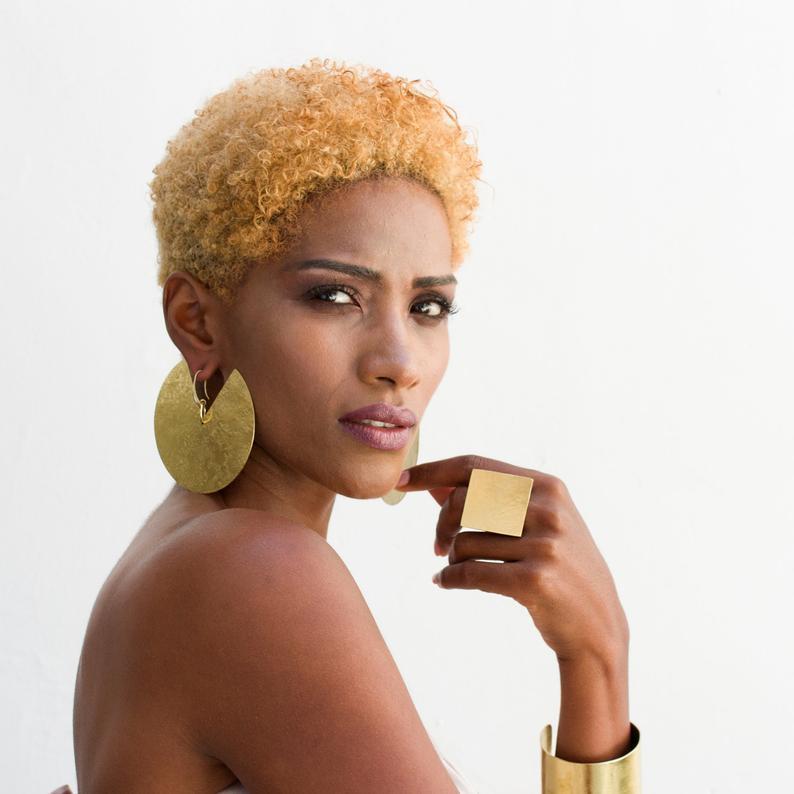 African earrings, Tribal earrings, tribal disc, ethnic earring, statement earrings, african jewelry, boho ethnic earrings, boho