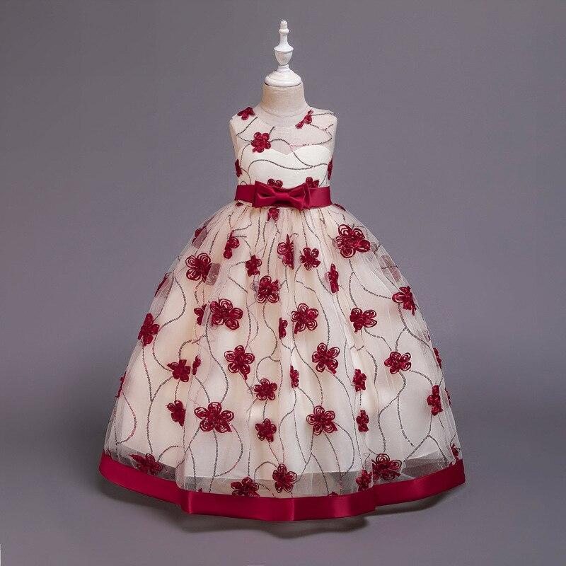 Neue 2020 Rot Blau Mädchen Party Kleid Elegante Kinder Kleider Für Mädchen Kinder Kleidung Hochzeit Prinzessin Abendkleid 8 10 12 jahre