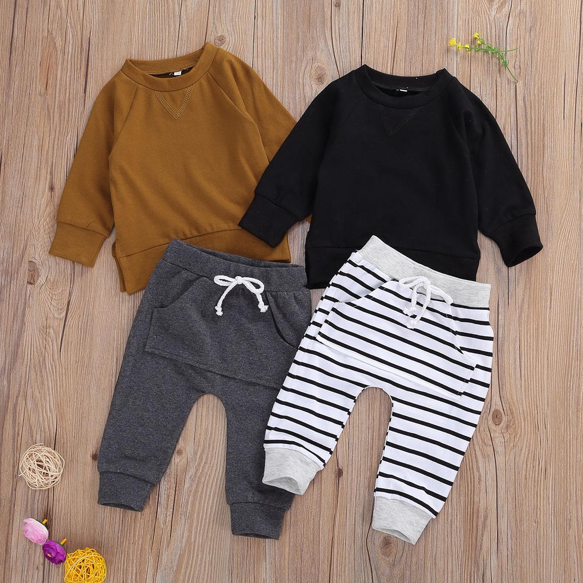 Conjuntos de ropa para bebés de 0 a 24 meses, jersey de manga larga, sudadera, pantalones lisos/a rayas, Pantalones