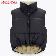 2021 Autumn Winter Fashion Black Short Jacket Coat Women Warm Sleeveless Parkas Female Casual Cotton