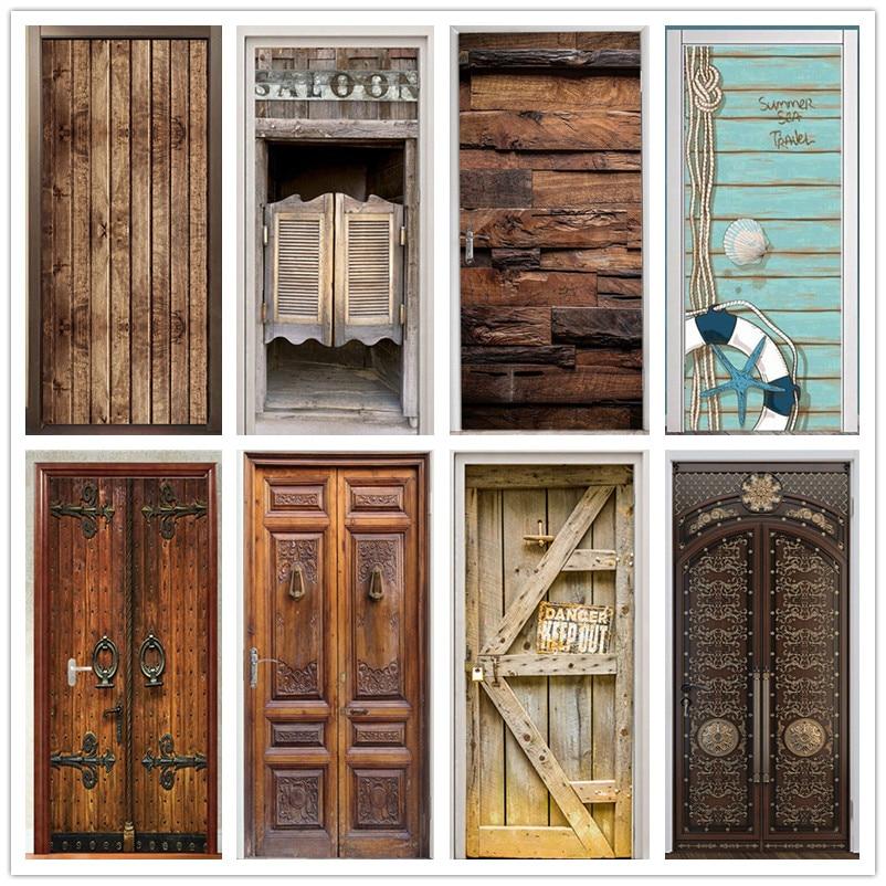 Retro Wooden Door Stickers PVC Waterproof Wallpaper For Doors Living Room Bedroom Home Decor Mural D