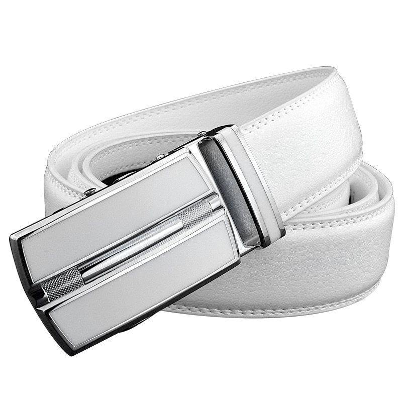 Wit Plus Size Mannen Lederen Riem 130 140 150 160 Cm Echte Koe Lederen Automatische Gesp Breedte Mannen Taille riemen Voor Jeans