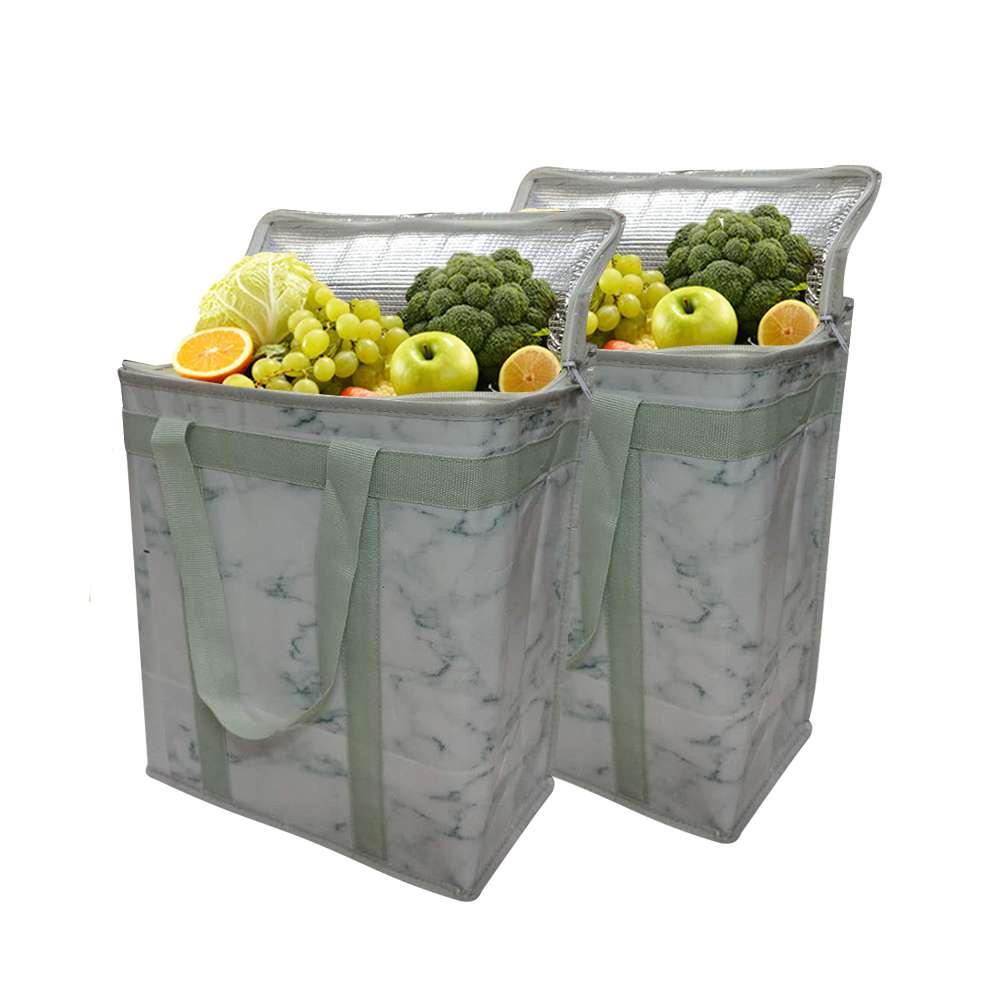 Bolsa de almuerzo con aislamiento reutilizable, paquete de 2 unidades, bolsa de hielo portátil para Picnic plegable, bolso térmico para alimentos, entrega de alimentos, ideal para la compra de comestibles