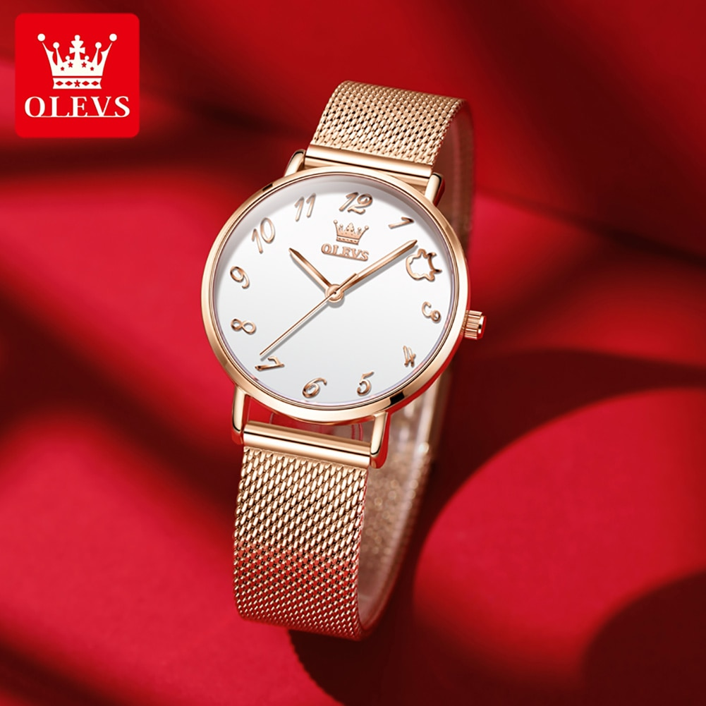 Relógios à Prova Relógio de Moda de Alta Relógio de Pulso de Quartzo Pulseira de Malha de Aço Olevs Mulheres Dwaterproof Água Senhoras Vestido Qualidade Inoxidável Montre Femme