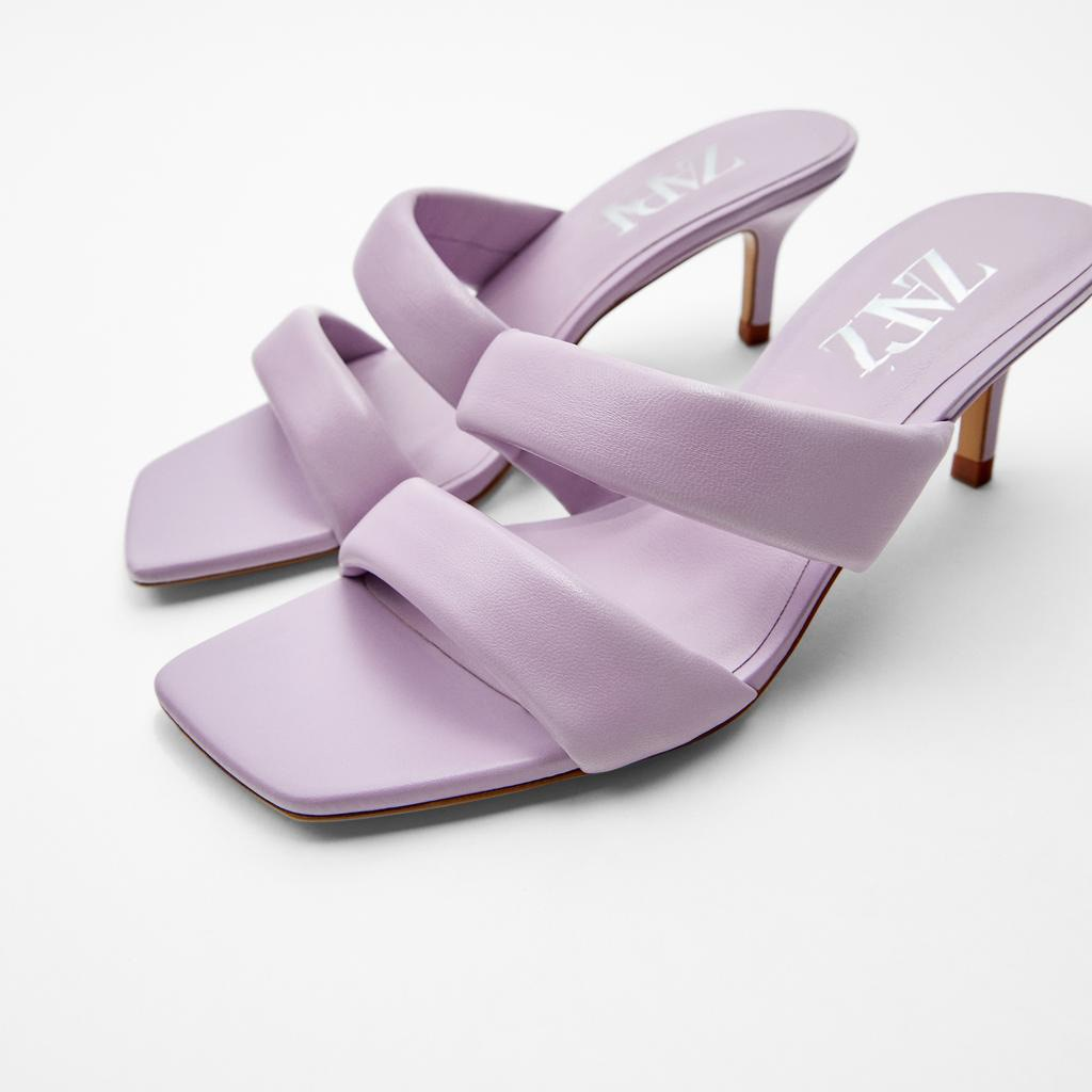 NOVEDAD DE VERANO 2020, zapatos de mujer, sandalias sexis de piel de oveja de tacón alto con puntera cuadrada morada acolchadas de encaje para mujer