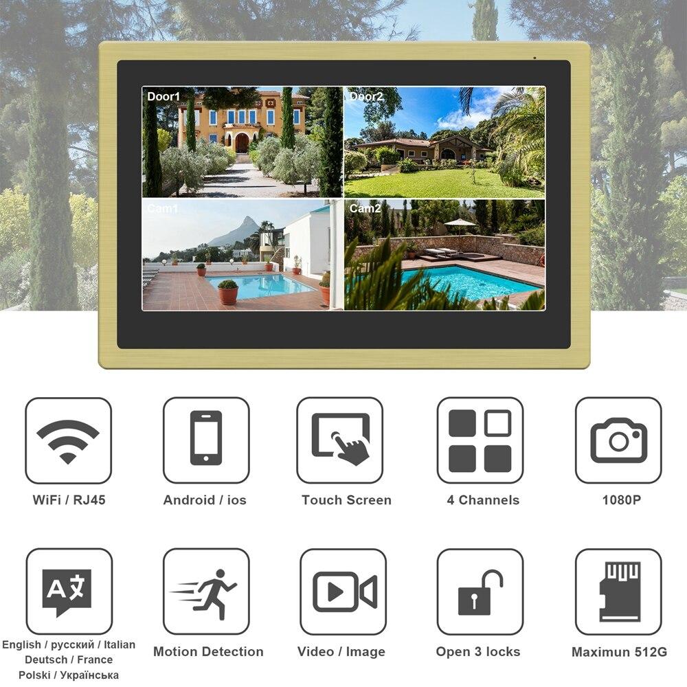 WiFi Video Intercom 10 Inch Touch Screen Monitor  1080P Keypad Call Panel RFID Doorbell Home Intercom Surveillance Camera System enlarge