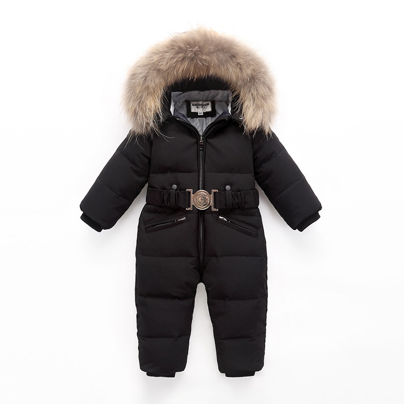 Children Winter Duck Down Jumpsuit for Baby Boys Girls Snowsuit Rompers Overalls Thick Warm Real Fur Jacket Kids Outerwear Suit