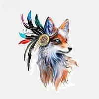 fashion animals decal beautiful fox with feathers car sticker decoration decal pvc 11 8cm16cm