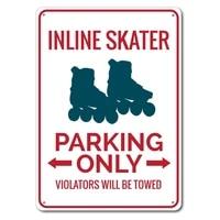 incline skater sign metal tin sign metal signskater parking sign skater gift skater party decor skating gift sign
