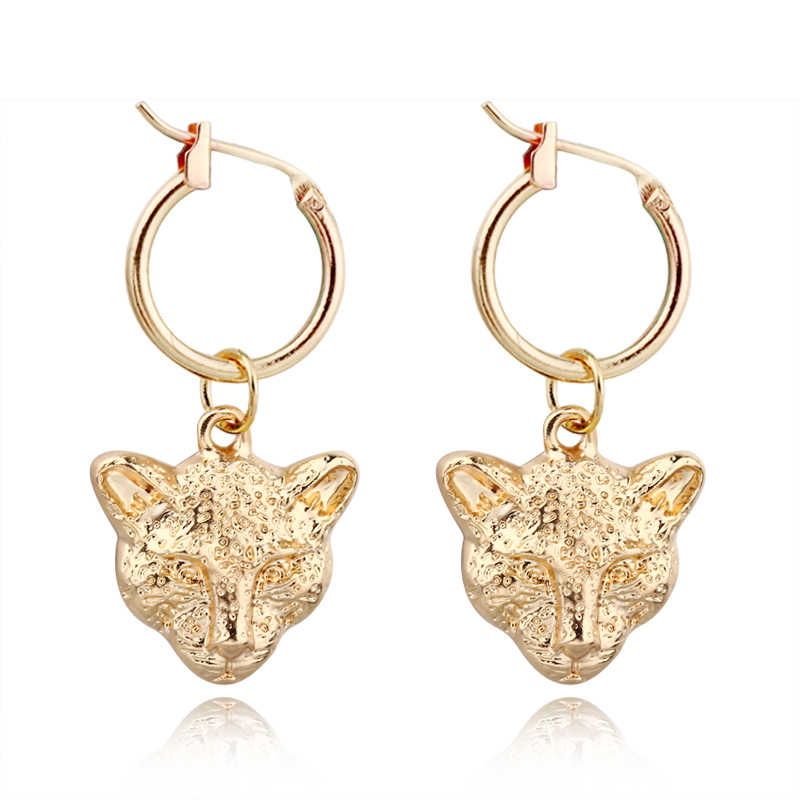 1pair Punk Vintage Leopard Head Hoop Earrings For Women Men Rock Hyperbolic Gold Metal Color Tiger Animals Earrings Jewelry E54 Hoop Earrings Aliexpress