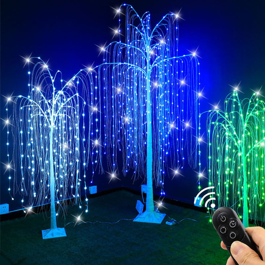1.5M 2.1M RGB Lighted Weeping Willow Tree Light Christmas Fairy Light Willow Tree String Light for Outdoor Party Garden Decor