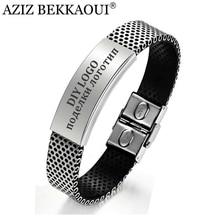 AZIZ BEKKAOUI homme bijoux ID Bracelets pour hommes personnalisé nom bracelet en acier inoxydable Bracelets Logo personnalisé graver nom Service