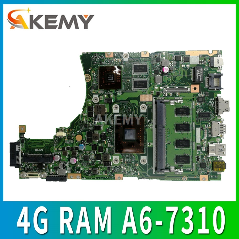 X455YI laptop płyta główna asus X455YI X455Y X455DG X455D 100% test Ok 4G RAM A6-7310 / 2G RAM E2-7110
