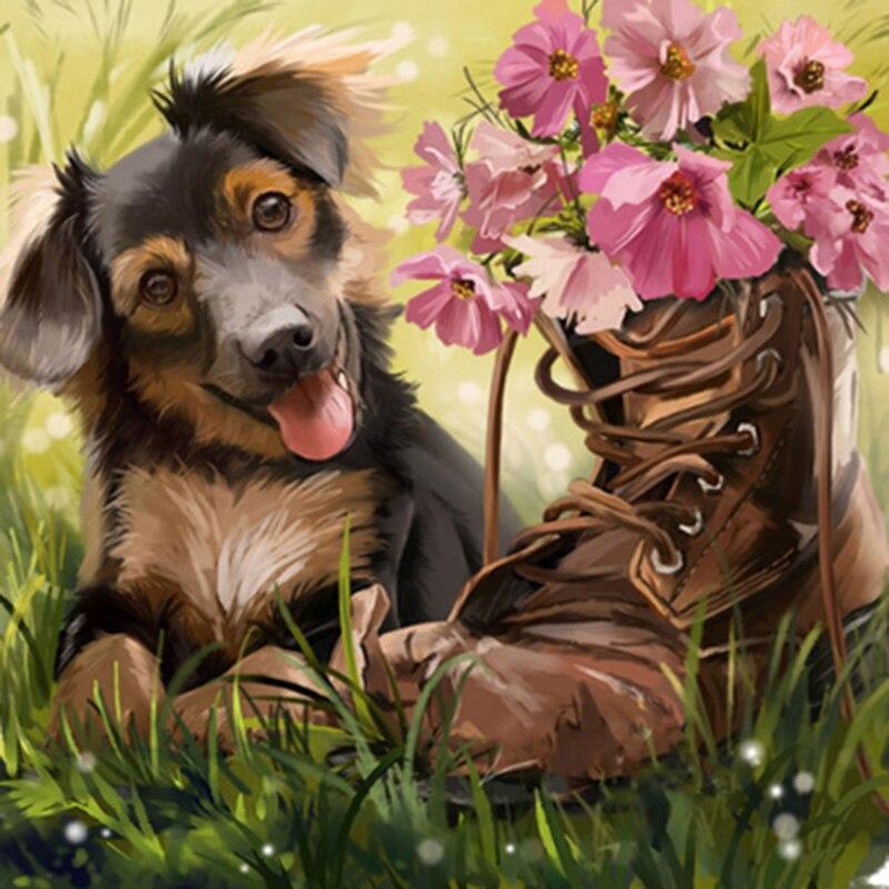 Taladro redondo completo 5D DIY cuadro de perro hecho de diamantes zapato flor mosaico diamante bordado Cruz pedrería decoración del hogar regalo