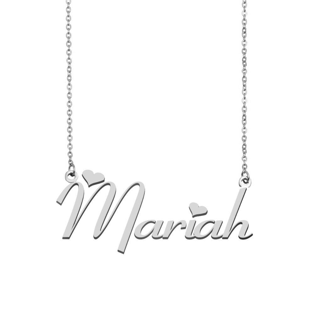 Mariah اسم قلادة شخصية الفولاذ المقاوم للصدأ المرأة المختنق 18k مطلية بالذهب الأبجدية قلادة بحرف مجوهرات أصدقاء هدية
