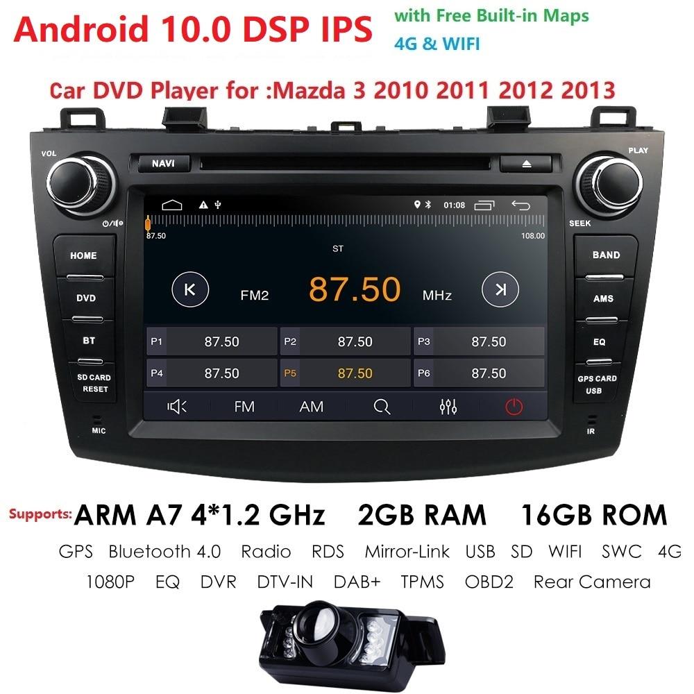 IPS DSP Android 10 двойной 2 Din Автомобильный dvd-плеер GPS навигация мультимедийный плеер для Mazda 3 Axela 2010-2012 с DAB + TMPS