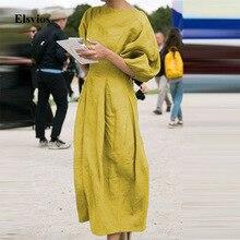 Elsvios Vintage coton lin robe plissée élégant femmes lanterne manches robe de soirée dames solide O cou Maxi longue robe Vestido