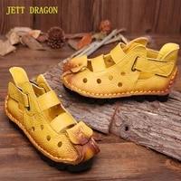 jett dragon 2021 summer soft bottom flat genuine leather women shoes personality leisure women sandals retro handmade sandals 41