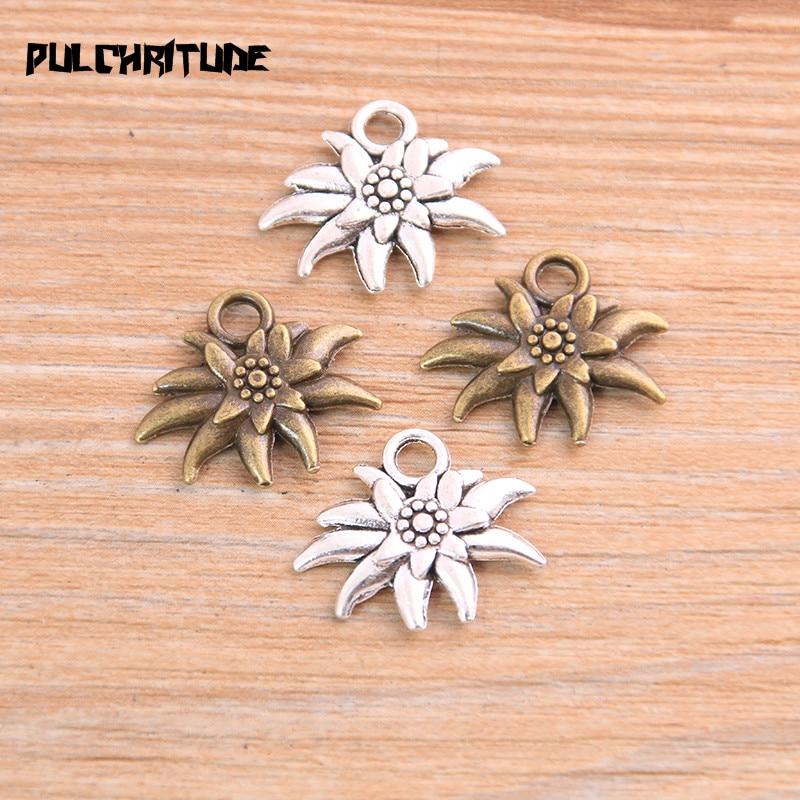 PULCHRITUDE, 16 Uds., 17x20mm, collar con abalorios de dos colores de flores del sol, accesorio colgante de joyería para hombre y mujer, joyería de estilo Retro