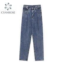 2021 Autumn Women Fashion Ins Streetwear Jeans Loose Casual Straight Denim Pant Tide Female High Wai